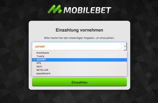 Screenshot der Mobilebet Einzahlungsmethoden
