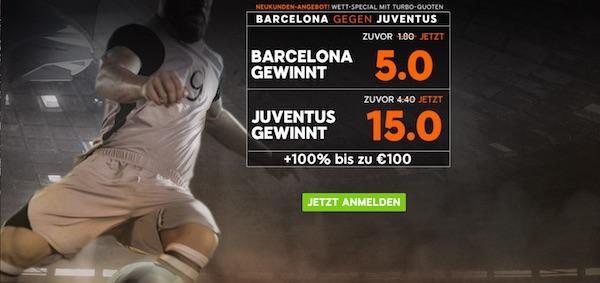 888sport Quotenboost Barcelona gegen Juventus