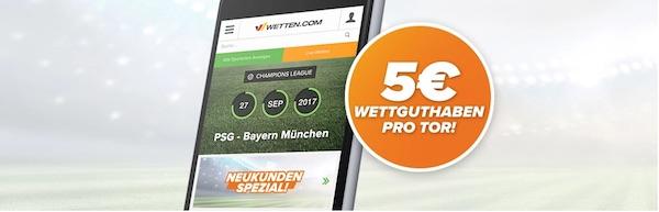 Wetten.com Prämie pro Tor PSG gegen Bayern