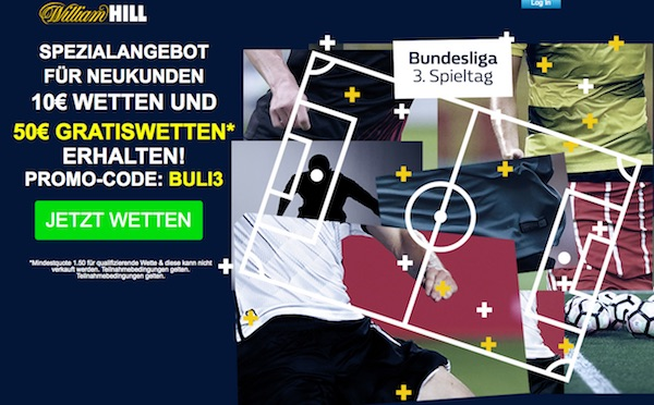 William Hill Bonus - Gratiswetten 50 Euro