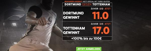 Borussia Dortmund gegen Tottenham Hotspur Quotenboost bei 888sport