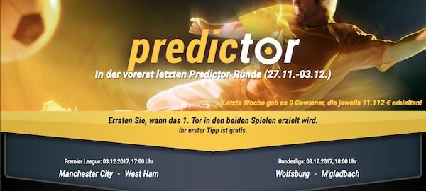 Bwin Predictor ManCity gegen West Ham und Wolfsburg gegen Gladbach