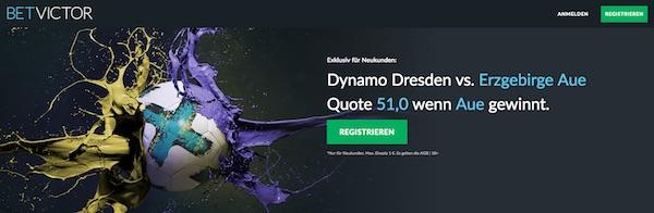 Dynamo Dresden gegen Erzgebirge Aue Quotenboost bei Betvictor