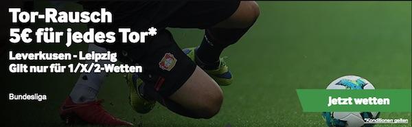 Torrausch Wette Leverkusen gegen Leipzig bei Betway