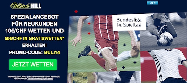 William Hill Gratiswetten Promo Bundesliga Spieltag 14