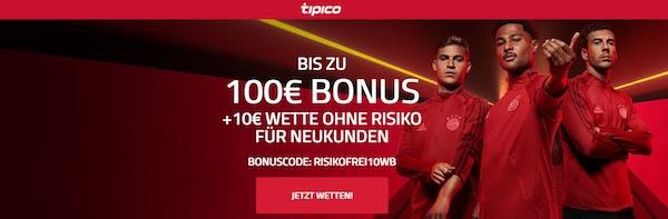 Tipico Bonus plus 10 Euro Wette ohne Risiko