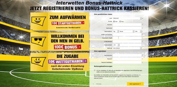 Jetzt bei Interwetten anmelden und 120€ Bonus kassieren