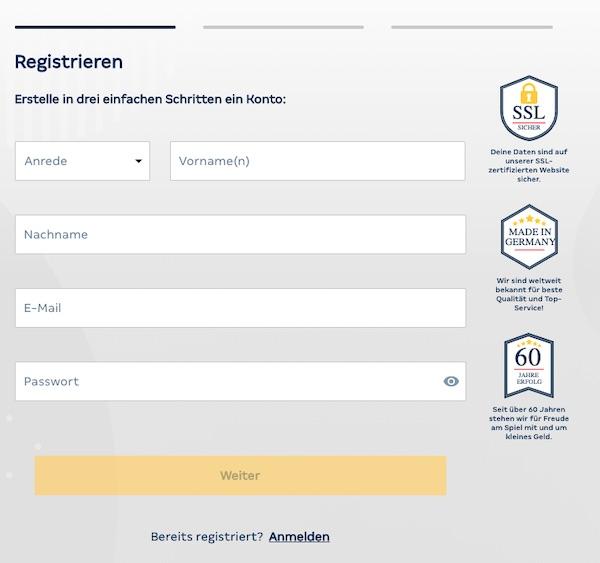 Merkur Sports Registrierungsformular