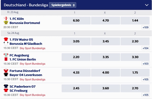 Screenshot der Sky Bet Wettquoten