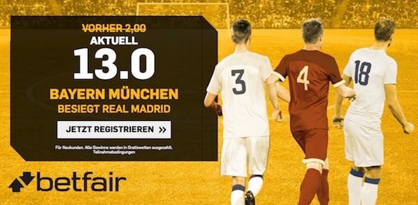 Topquote auf Bayern-Sieg vs. Real bei Betfair