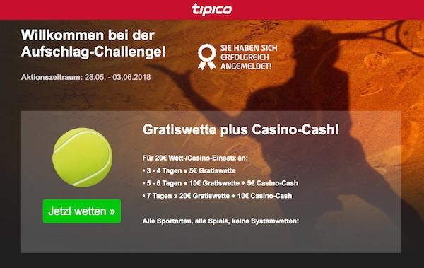 Aufschlag Challenge von Wettanbieter Tipico