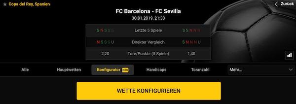 Bwin Konfigurator Funktion zum Spiel Barca-Sevilla