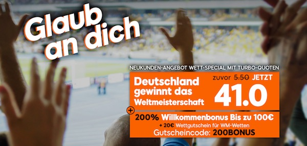 888sport: Quote 41.0 auf Deutschland wird Weltmeister