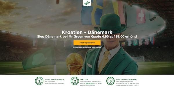 Quote 51.0 auf Dänemark besiegt Kroatien bei MrGreen
