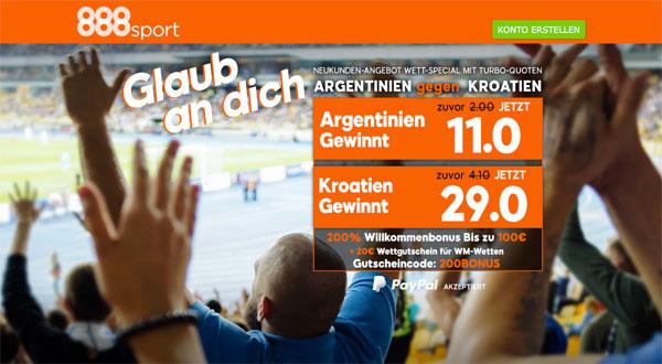 Quotenboost Argentinien Kroatien 888sport
