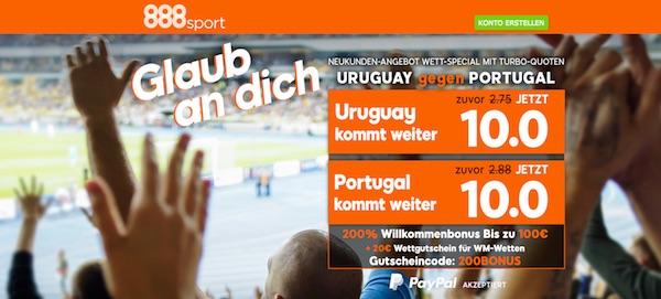 888sport Quotenboost zu Uruguay-Portugal