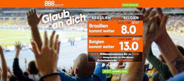 Verbesserte 888sport Quoten zu Brasilien-Belgien