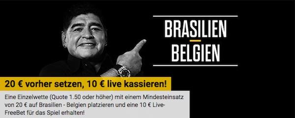 Bwin schenkt dir 10€ Live Wette zu Brasilien-Belgien