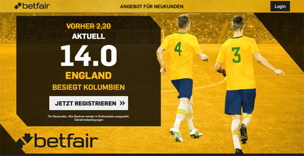 Betfair Kolumbien gegen England WM Quotenboost
