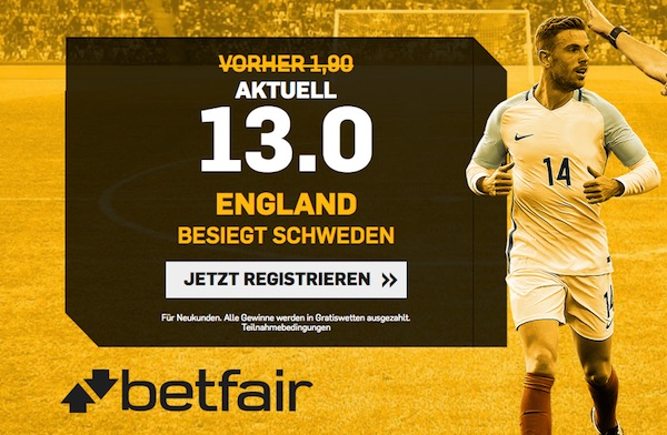 WM Viertelfinale: Top England Quote bei Betfair