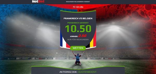 NetBet bietet Quote 10.50, wenn Frankreich Belgien besiegt