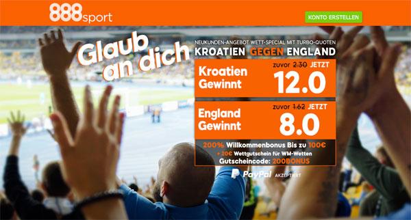 Quotenboost 888sport Kroatien England