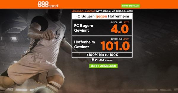 888sport: Top Quoten zu Bayern-TSG