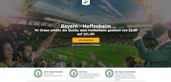101er-Quote auf Hoffenheim bei Mr. Green!
