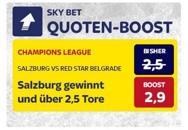 SkyBet erhöht die Quote zu Salzurg-Roter Stern Belgrad