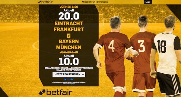 Betfair: Quote 20.0 auf Frankfurt, 10.0 auf Bayern