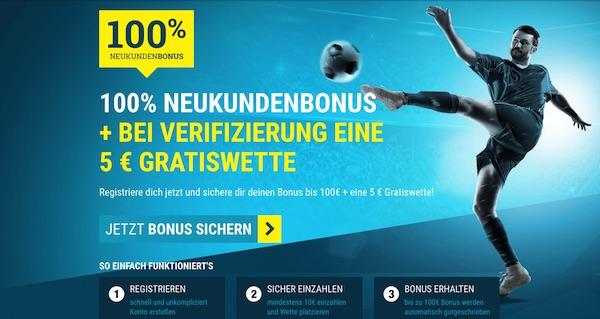 100+5€ Neukundenbonus von sportwetten.de