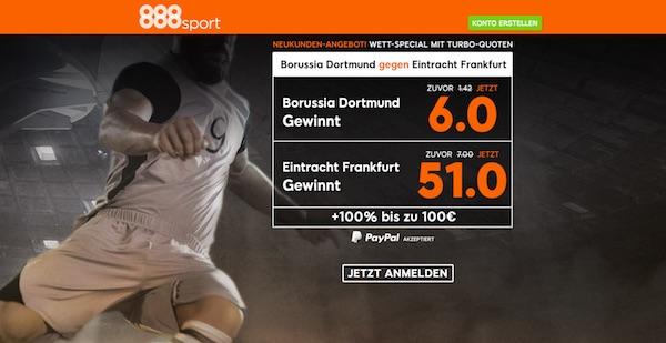 BVB-Frankfurt: Neukunden Quoten Angebot von 888sport