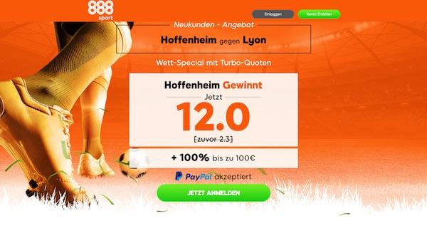 CL: Verbesserte Hoffenheim Quote bei 888sport