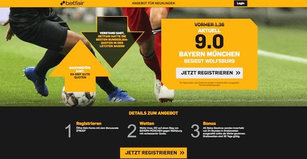 Betfair mit 9er-Quote auf die Bayern in Wolfsburg