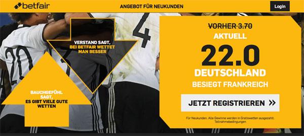 Betfair Quotenboost Deutschland Sieg
