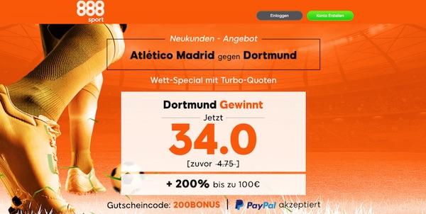 Top Quote auf BVB besiegt Atletico bei 888sport