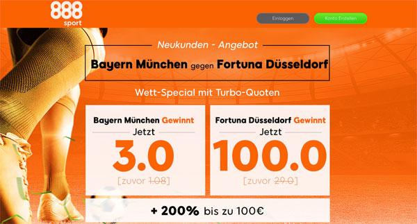 Wette Bayern gegen Fortuna Bundesliga 888sport