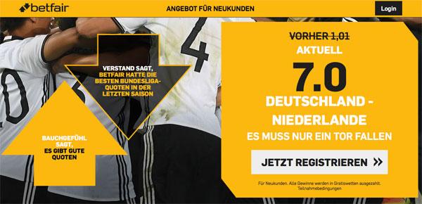 Deutschland Niederlande Betfair Quotenboost