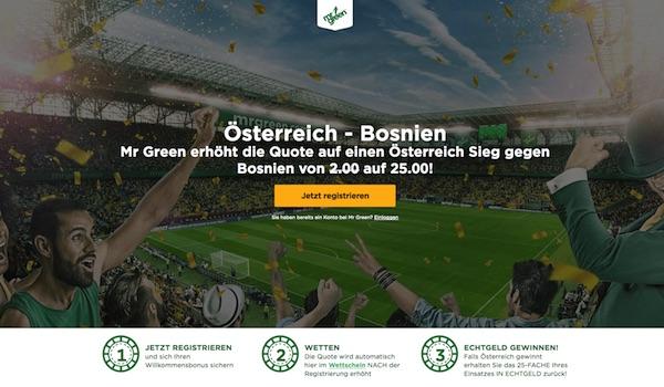 Quote 25.0 auf Österreich schlägt Bosnien bei Mr. Green
