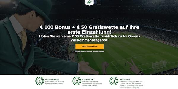 Exklusives MrGreen Angebot mit 50€ Gratiswette