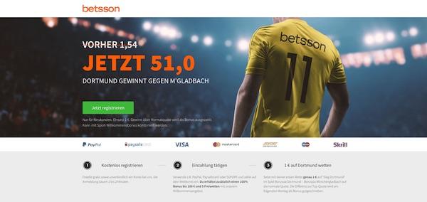 Quote 51.0 auf Dortmund schlägt Mönchengladbach für Betsson Neukunden