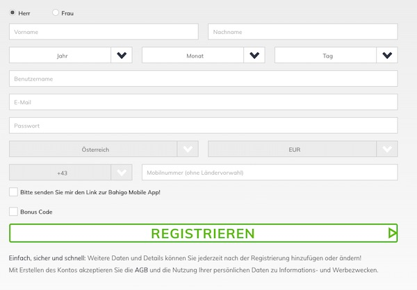 So sieht das Registrierungsformular bei Bahigo aus