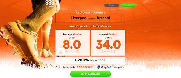 888sport: Verbesserte Quoten zum Schlager Liverpool-Arsenal