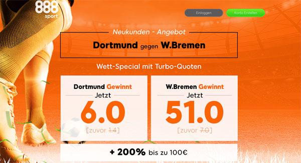 Quotenboost Wette Dortmund Bremen