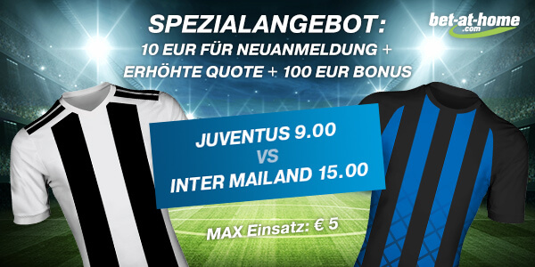 Bet-at-home erhöht die Quoten zu Juve-Inter