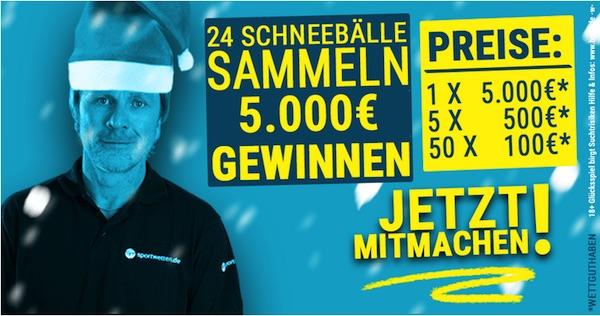 Gewinne beim Weihnachtsgewinnspiel von Sportwetten.de den 5.000€ Hauptpreis