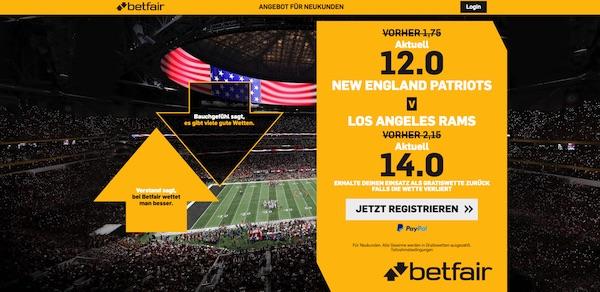 Enhanced odds zur Super Bowl bei Betfair