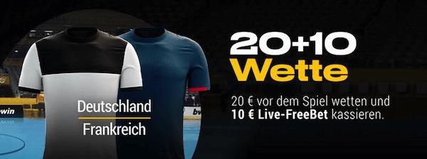 Handball WM: 20+10 Wette zu Deutschland-Frankreich bei Bwin