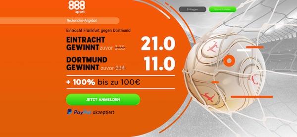 Mega Angebot von 888sport: 21.0 auf die Eintracht oder 11.0 auf den BVB