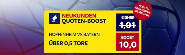 SkyBet: Quote 10.0, dass Hoffenheim-Bayern nicht 0:0 endet